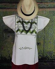 Hand Embroidered Ombre Cotton Huipil Zacatepec Oaxaca Mexico Hippie Boho Fiesta