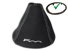 """Shift Boot For Fiat 500 500C 2007-2017 + Plastic Frame Suede """"500"""" White Logo"""