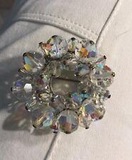Vintage Aurora Borealis Beads Brooch- Round