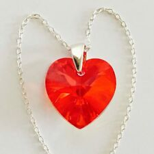 Swarovski Elements Crystal Heart Pendant Necklace Sterling Silver Red Siam AB