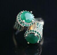 Turkish Handmade Sterling Silver 925 Jewelry Emerald Ladies Ring Adjustable