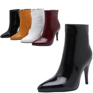 Size UK 2-11 Womens Inside Zipper Pointed Toe Ankle Boots High Heel Bootie Shoes