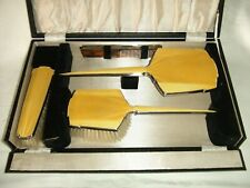 Pretty 1920's/30's Art Deco Guilloche Enamel Vanity Set in original fitted case