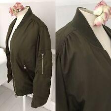 Ladies Size 12 TOPSHOP Bomber Harrington Short Baseball Jacket Khaki Green  VGC