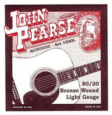 John Pearse 200L 80/20 Bronze 12-53 Light Acoustic Guitar Strings New