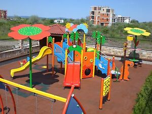 Rubber Playground Tiles / Mats - Play Areas - Swings -Safety Garden Slide 50cm