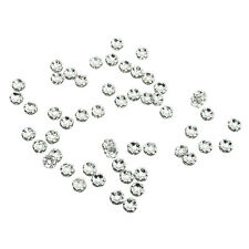 50pcs 6mm Silver Flower Rhinestone Rondelle Bead Spacer HOT WS A7H1
