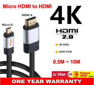 Micro HDMI to HDMI V2.0 Adapter Cable Audio Video 4K*2K 60Hz UltraHD 18Gbps Wire