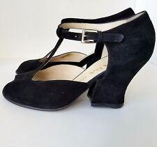 PRADA Calzature Donna in Pelle Camoscio Black Suede Block Heels- Size 39 (9)