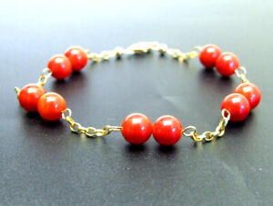 "18K Solid Gold Chain Bracelet for Women Float Round Red Coral Bracelet 7.5"" b502"