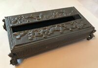 Vintage Ornate Dark Gray Filagree Cherub Footed Vanity Tissue Box Holder Cover