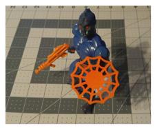 New Web shield accessory for He-Man MOTU Webstor figure Orange.  Made in the USA