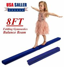 8' Blue Pro Gymnastics Floor Balance Beam Skill Performance Training Folding Bp
