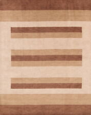 Stripd Contemporary Eartht-Tone Gabbeh Oriental Hand-Knotted 8x10 Wool Area Rug