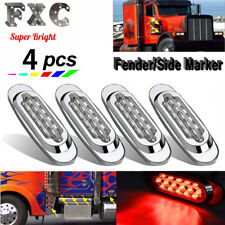 "4x 6.5"" Clear/Red Truck Side Marker Light Waterproof For Peterbilt Chrome 16LED"