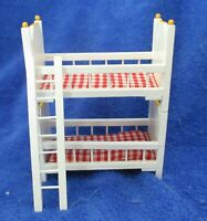 Dollhouse Miniature Child's White Bunkbed Set With Ladder Vintage 1:12 Scale