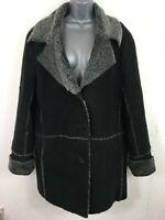 WOMENS MITSU LONDON BLACK GREY BUTTON UP SMART FAUX SHEEPSKIN COAT SIZE S SMALL