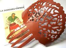 1970s Peineta Mantilla Flamenco Dancer Large Hair Comb~ Terracotta Brown ~ New