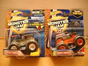Hot Wheels Monster Jam Truck Series Lot Retro Grave Digger Glow in the Dark Flag