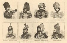 1885-ANTIQUE PRINT-TYPES OF SOLDIERS OF THE RUSSIAN ARMY