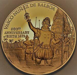 500th Anniv Vasco Nunez De Balboa Solid Bronze Proof Franklin Mint Medallion~F/S