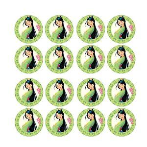 24x Mulan Disney Princess  Edible Cupcake Toppers Wafer Paper 4cm (uncut)