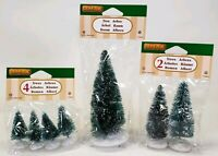 Lot Of 3 Lemax Village Collection #94653 #94644-45 Frosted Pine Tree Christmas
