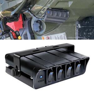 Blue 4-Gang Rocker Switch Box Emergency Strobe Light Bar Toggle Controller Panel