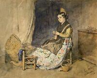 Emanuel Spitzer Manó Interieur mit Frau Spanien Valencia 1876 20,8 x 26,3 cm