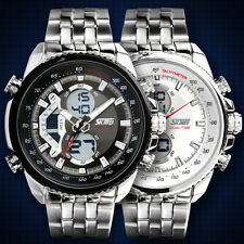 Analog-Digital Quarz Herrenuhr Wasserdichte Sportuhr Edelstahl Armbanduhr