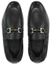 NEW SALVATORE FERRAGAMO CELSO BLACK LEATHER GANCIO DETAILS LOAFERS SHOES 11 EEE