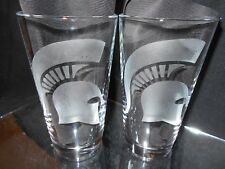 MICHIGAN STATE SPARTANS  2 ETCHED LOGO 16 oz PINT GLASSES NEW