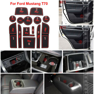 For Ford Mustang t70 Rubber Non-slip Mat Interior Cup Pad Door Groove Mat