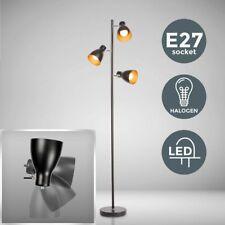 Stehleuchte Retro Design Stehlampe Vintage Standleuchte Metall 3-flammig schwarz