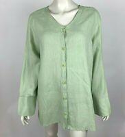 Flax Lightweight Linen Sage Green Button-Up Long Sleeve Tunic Top Women Medium