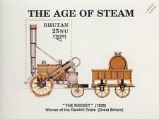 1829 rainhill trials stephenson rocket train locomotive stamp sheet 1990 bhoutan