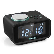 Reacher Radio Réveil Double Alarme FM LCD Snooze Thermomètre Intérieur Dual USB
