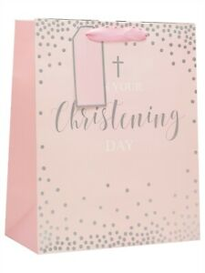Baby Boy or Girl Blue or Pink On Your Christening Gift Bag Medium Large / Tissue