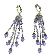 Sparkling Purple Tanzanite Austrian Crystal CLIP-ON  Earrings 6367