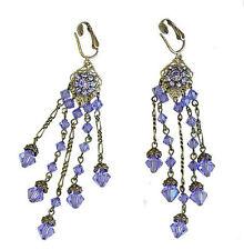Sparkling Purple Tanzanite Austrian Crystal CLIP-ON  Earrings 6367