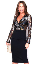 Ladies Gold Silver Sequin Black Dress 10 Party Cocktail Sexy Occasion