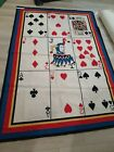 Stark Needlepoint Wool Rug or Tapestry Playing Card/Poker Midcentury Design 5x8
