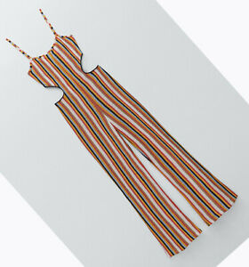 ZARA NEW WOMAN LONG STRAPPY STRIPED JUMPSUIT WITH CUT-OUT DETAIL S,M,L 1131/828