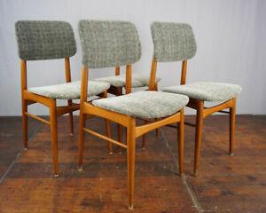 Dining Room Chairs Vintage 4x Kitchen 60er mid-Century Danish 60s