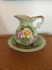 "Vintage Porcelain Pitcher and Bowl Hand Painted Roses 5.5"" Japan"