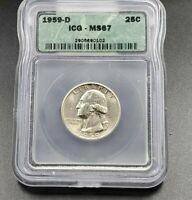 1959 D Washington Silver Quarter Coin ICG MS67 SOME Toning Gem BU Uncirculated