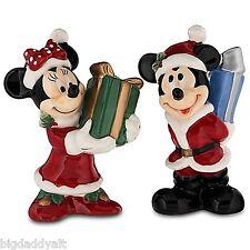 NEW Disney World Mickey Minnie Santa Christmas Holiday Salt & Pepper Shakers Set