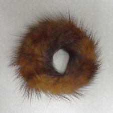 Brown Real Mink Fur ponytail holder hair band scrunchie