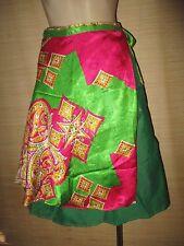 "New VINTAGE Silk sari wrap SKIRT FREESIZE (8-16 best) 26"" Knee/calf length (#93)"