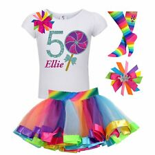 Candyland Lollipop 6th Birthday Girl Shirt Rainbow Tutu Outfit Socks Name Bow 6